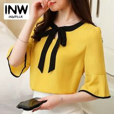 Summer Womens Blouses And Tops Bow Patchwork Office Shirts Women Short Sleeve Chiffon Blusas Mujer Plus Size Tops Ladies 2018 _ {categoryName} - AliExpress Mobile Version - Casual Skirt Outfits, Trendy Outfits, Fashion Outfits, Fashion Sale, Dress Neck Designs, Blouse Designs, The Office Shirts, Blouse Styles, Ladies Dress Design