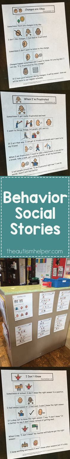 We\'re sharing important tips for using behavior social stories to reduce problem behaviors on the blog! From theautismhelper.com #theautismehelper