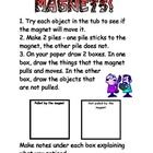 """Kids love magnets! Here's an easy science center activity. Kids observe and test the """"attraction"""" of magnets through wood, paper, plastic and cloth.  A sheet is included for kids to record their findings.   Offered for free by Debbie Bryant."""