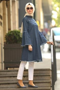 2019 New Season Hijab Clothing Dress, Shawl, Evening Dresses Cheap Price! - Nayla Collection - Flywheel Sleeve Navy Blue Hijab Tunic it is Islamic Fashion, Muslim Fashion, Hijab Fashion, Fashion Outfits, High Street Fashion, Kurta Designs, Blouse Designs, Trendy Dresses, Trendy Outfits