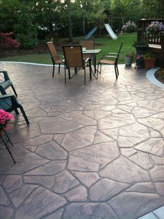 Stamped concrete patio project complete!  I loved how it turned out:)