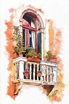 Title Venetian Windows 1 Artist Greg Collins Medium D Architecture Drawing Sketchbooks, Watercolor Architecture, Interior Architecture Drawing, Drawing Interior, Art And Illustration, Watercolor Illustration, Watercolor Drawing, Watercolor Paintings, Watercolor Painting Techniques