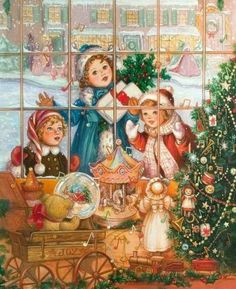 ideas for illustration art vintage christmas cards Vintage Christmas Images, Old Christmas, Christmas Scenes, Old Fashioned Christmas, Victorian Christmas, Vintage Holiday, Christmas Pictures, Christmas Mantles, Christmas Postcards