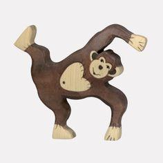 #Holztier Schimpanse mit guter Laune