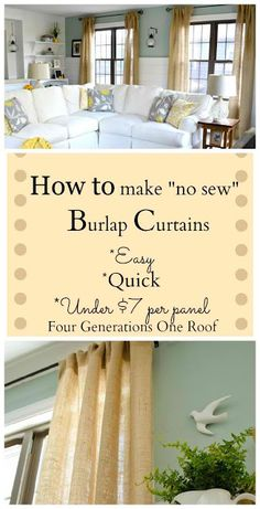 DIY How To Make Curtains Using Burlap * She used the SAME pillows as you , except in her living room. Great room and I love the cheap curtains, they look expensive !