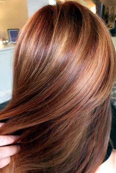 pumpkin spice latte hair golds and coppers galore (fall hair color and cuts) Hair Color And Cut, Hair Affair, Auburn Hair, Great Hair, Awesome Hair, Hair Highlights, Color Highlights, Honey Highlights, Fall Hair