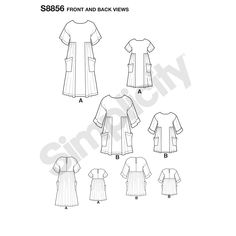 Simplicity Sewing Pattern Children's and Misses' Dress and Tunic Tunic Pattern, Top Pattern, Simplicity Sewing Patterns, Vintage Sewing Patterns, Maternity Sewing, Flat Sketches, Dressmaking Fabric, Fabric Combinations, Miss Dress