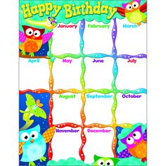"Lively owls help celebrate birthdays each month. Back of chart features reproducible activities, subject information, and helpful tips. 17"" x 22"" classroom size. Sturdy and durable. Ideal for teaching"