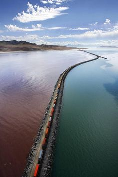 Yikes! Railroad causeway across the Great Salt Lake. (Ravell Call, Deseret News)
