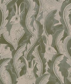 Tapet Hares in hiding Aloe - Emma von Brömssen Swedish Wallpaper, Kids Wallpaper, Wallpaper Samples, Color Patterns, Color Schemes, Wallpaper Companies, Nordic Lights, Flower Shower, Peonies Garden