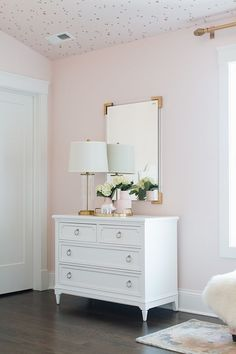 Blush Paint Color Wild Aster by Benjamin Moore Girls Bedroom Decor Pale Pink Bedrooms, Light Pink Rooms, Light Pink Walls, Pink Bedroom Walls, Pink Light, Light Pink Girls Bedroom, Light Pink Nursery Walls, Bedroom Lamps, Trendy Bedroom