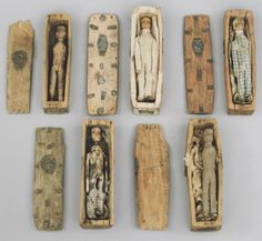 "hnnhmcgrth: "" The ""fairy coffins"" discovered on Arthur's Seat, a hill above Edinburgh, in Were they magical symbols, sailors' memorials—or somehow linked to the city's infamous mass murderers, Burke and Hare? Photo: National Museum of Scotland. Memento Mori, Marionette, Art Populaire, Art Brut, Bizarre, Totems, National Museum, Macabre, Coffin"