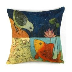 Bird & Fish in the Two World Forever Throw Pillow Case Sham Decor Cushion Covers Square 18*18 Inch Beige Cotton Blend Linen. Shopswell | Shopping smarter together.™