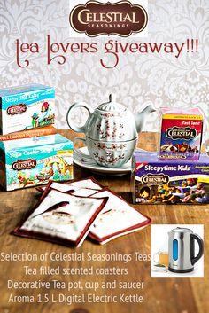 Enter to win over $100 in tea related goodies from Celestial Seasonings and dineanddish.net