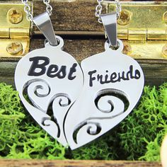 """Make a declaration of timeless friendship with the help of Hearts Necklace Set! Made in exquisite but neutral style it's unisex and suit both women and men. The set includes pendants made in the shape of a half of a heart with two inscriptions 'Best"""" and """"Friends"""" engraved on them. It is decorated with a delicate ornament and looks very sweet. #friendsnecklace #friends #friendsforever #loveyou"""