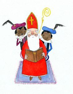 I drew Sinterklaas ( what is Sinterklaas? ) and 2 zwarte pieten. It's a national holiday here and it's a lot like Santa Claus. Evil Children, Blond Amsterdam, Christmas Illustration, Good Books, Book Art, Holland, Santa, History, Retro