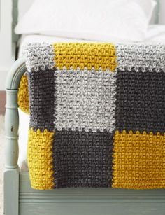 [Free Pattern] This Crocheted Patchwork Blanket In Modern Colors Will Bring A Room To Life