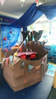 Pirate ship writing area made out of cardboard boxes. So cute, so simple! Home Corner Ideas Early Years, Activities For Boys, Pirate Activities, Cardboard Pirate Ship, Pirate Cruise, Pirate Theme, Pirate Birthday, Role Play Areas, Library Themes