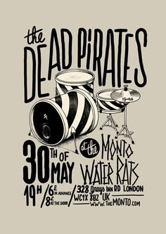 The Dead Pirates by McBess. Nice use of different styles of hand-type. Solid background color, single illustration, type surrounding. Similar to my hand type.