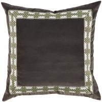 #03 Charcoal (dark gray) Velvet w/ Amalfi Green Tape Pillow