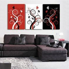 100% Hand Painted Oil Painting 3 Piece Canvas Art Spring Tree Painting Large Wall Art Group Painting Abstract Painting Modern Art Free Shipping Stretched and Ready to Hang by GalleryPainting, http://www.amazon.com/dp/B00B65USSW/ref=cm_sw_r_pi_dp_1mb9rb1R9WVET