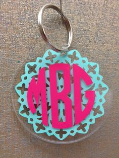 Custom Monogrammed Acrylic Key Chain, 2.75 inches / flower design