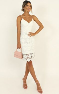 Complete your look with the Ive Arrived Dress In White Lace from Showpo! Buy now, wear tomorrow with easy returns available. Shower Dress For Bride, Shower Dresses, White Lace, White Dress, Formal Dresses, Wedding Dresses, Formal Outfits, Pencil Dress, Lace Detail