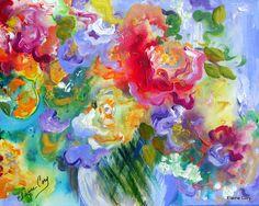 DREAMY FLORAL Still Life Painting oil acrylic   14 x 18 Original Art by Elaine Cory
