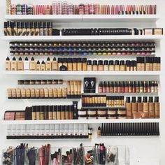 21 Photos Of Makeup Organization Any Beauty Lover Will Appreciate #refinery29  http://www.refinery29.com/makeup-organization-pictures#slide-17  Sure, this is a pretty epic makeup collection, but the fact that it's organized by product and color is what truly blows our minds....