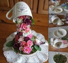 It will be great fun and pretty to add this decorative flying cup topiary for Easter home or office decoration Cup And Saucer Crafts, Teacup Flowers, Floating Tea Cup, Easter Flower Arrangements, Teacup Crafts, Topiary, Spring Crafts, Flower Crafts, Paper Flowers