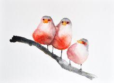 Aves de rojo  acuarela ORIGINAL pintura arte de pájaro