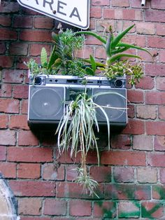 Old stereo planter #Music, #Planter, #Stereo