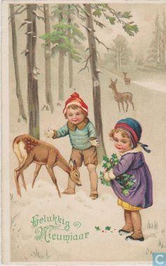 Ansichtkaart - Obdam - Gelukkig Nieuwjaar. Kinderen met hertjes en hulst.