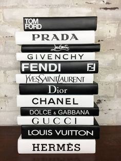 Fashion Designer Book Labels (Set of 12 – Giant Shoe Boxes Fashion Designer Book End Labels. Set of 12 Labels to Create your own DIY Designer Books. Books or Dust Covers are NOT included. Each Label is apx 1 Photo Wall Collage, Picture Wall, Chanel Decoration, Chanel Book Decor, Moda Wallpaper, Computer Wallpaper, Pc Computer, Books Decor, Wallpapers Kpop