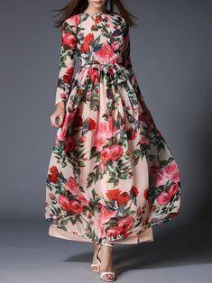 Multicolor Floral Printed Boho Dress With Belt
