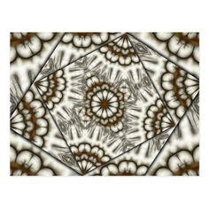 Kaleidoscope fans in browns horizontal postcard on Zazzle