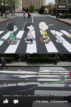 3D chalk art-charlie brown!!!! This would be like rainbows and sunshine to come upon! <3
