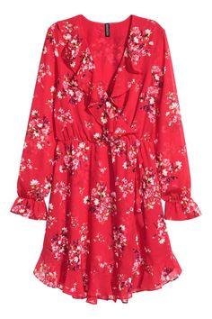Overslagjurk - Rood/bloemen - DAMES | H&M NL
