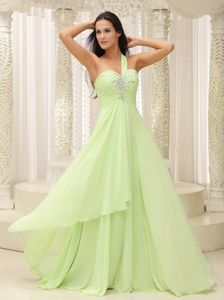 Yellow Green Ruched and Beaded One Shoulder Evening Wear Dresses