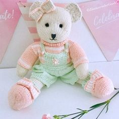 Sock Yarn Pinafores and Cardigans plus Little Bear Scarf Teddy Bear Knitting Pattern, Knitted Teddy Bear, Teddy Bear Toys, Knitting Patterns, Doll Patterns, Clothes Patterns, Knitting Stitches, Yarn Dolls, Knitted Dolls