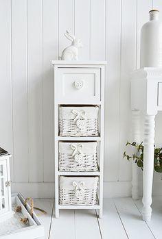 White storage unit 4 baskets 2 drawers in 2019 - White wicker bathroom accessories ...