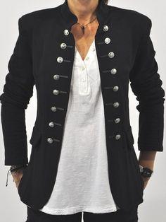 Blazer officer double boutonnage col cheminée manches longues élégant femme vestes noir - Manteaux - Hauts