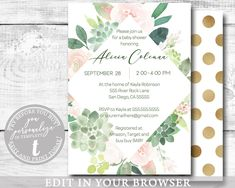 EDITABLE Invitation, Girl Baby Shower Invitation, Succulent Floral Pink Modern Printable Baby Shower Template, BABY400 Baby Shower Templates, Baby Shower Printables, Online Printing, Baby Shower Invites For Girl, Baby Shower Invitations, Etsy Cards, Photo Center