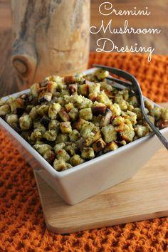 Savory Cremini Mushroom Dressing - Baby Portabellas rock!  Thanksgiving stuffing but in a casserole.