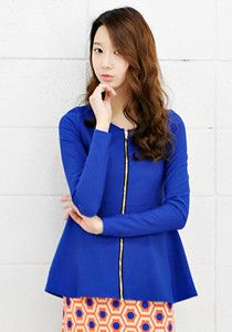 SALE: Open-zip Chiffon Blouse @ $35 SGD only! (Available in: Blue, Beige, Black)