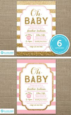 Hey, I found this really awesome Etsy listing at https://www.etsy.com/listing/205377253/gold-baby-shower-invitation-pink-and