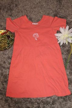 Fresh Produce Size Medium Salmon Single Daisy Design Casual Dress #FreshProduce