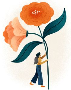 Illustration of lady in beret walking with flower, by Clare Owen Art And Illustration, Floral Illustrations, Illustrations And Posters, Motif Floral, Arte Floral, Plant Drawing, Art Plastique, Art Inspo, Flower Art