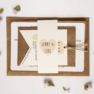 wedding invitation - rustic wedding invitation - striped lemon kraft