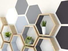 How to paint hexagons on a wall painting wall painting hexagons hexagon shelves hexagon wall shelf Diy Wall Painting, Painting Tools, Creative Wall Painting, Hexagon Wall Shelf, Geometric Wall Paint, Bedroom Wall Designs, Bedroom Ideas, Paint Designs, Room Decor